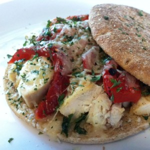 Chicken with roasted red pepper & parmesan on flatbread